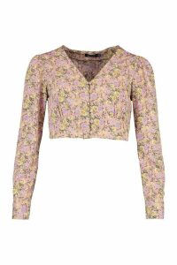 Womens Floral Button Through Plunge Blouse - Pink - 16, Pink