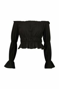 Womens Off The Shoulder Puff Sleeve Top - Black - 16, Black