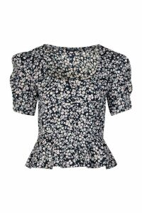 Womens Ditsy Floral Peplum Puff Sleeve Blouse - Navy - 16, Navy