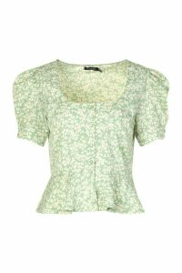 Womens Ditsy Floral Peplum Puff Sleeve Blouse - Green - 6, Green