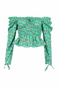 Womens Ditsy Floral Off The Shoulder Blouse - Green - 16, Green