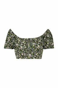 Womens Floral Lace Off The Shoulder Crop Top - Black - 16, Black