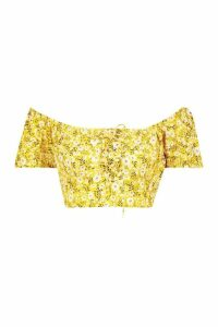 Womens Floral Lace Off The Shoulder Crop Top - Yellow - 16, Yellow