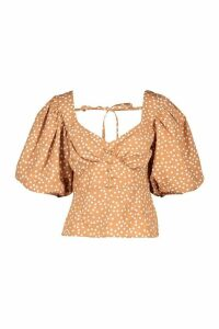 Womens Polka Dot Puff Sleeve Button Detail Blouse - Beige - 12, Beige