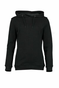Womens Kangaroo Pocket Hoodie - Black - 16, Black