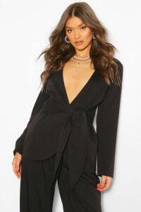 Womens Collarless Tie Detail Blazer - Black - 14, Black