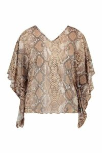 Womens Plus Snake Print Sheer Mesh Tunic Top - Brown - 20, Brown