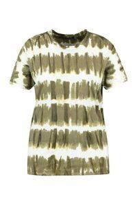 Womens Plus Stripe Acid Wash T-Shirt - Green - 24-26, Green