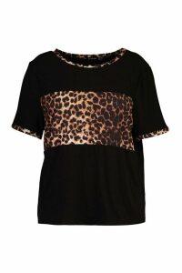 Womens Plus Leopard Ringer Contrast T-Shirt - Black - 20, Black