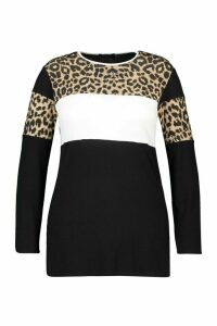 Womens Plus Leopard Contrast Tunic Top - Black - 20, Black
