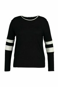 Womens Plus Stripe Sleeve Crew Neck Long Sleeve T-Shirt - Black - 18, Black