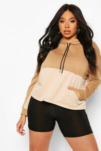 Womens Plus Colour Block Hoodie - Beige - 20, Beige