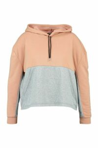 Womens Plus Colour Block Hoodie - Orange - 18, Orange