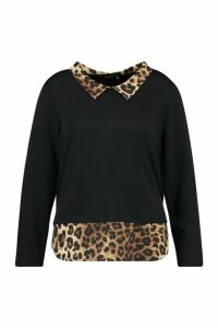 Womens Plus Leopard Contrast Collar Detail Top - Black - 20, Black