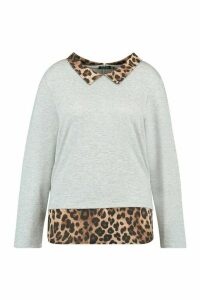 Womens Plus Leopard Contrast Collar Detail Top - Grey - 20, Grey