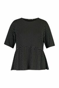 Womens Plus All Over Spot Smock Top - Black - 20, Black
