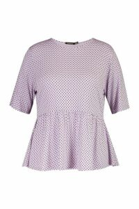 Womens Plus All Over Spot Smock Top - Purple - 18, Purple