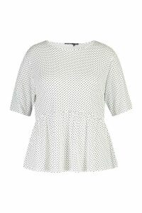 Womens Plus All Over Spot Smock Top - White - 20, White