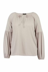 Womens Plus V Notch Neck Rib Longsleeve Top - Grey - 20, Grey