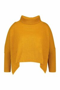 Womens Plus Roll Neck Jumper - Yellow - 24/26, Yellow