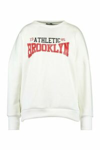 Womens Plus Brooklyn Slogan Oversized Sweat - White - 20, White