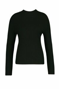 Womens Plus Fine Soft Knit Long Sleeve Jumper - Black - 24-26, Black