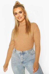 Womens Plus Fine Soft Knit Long Sleeve Jumper - Beige - 24-26, Beige