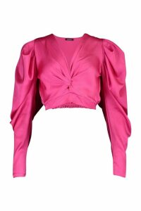 Womens Petite Volume Sleeve Twist Front Satin Top - Pink - 14, Pink