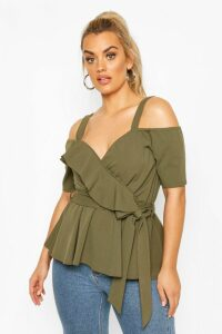 Womens Plus Plunge Ruffle Cold Shoulder Peplum Top - Green - 20, Green