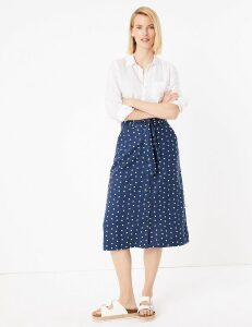 M&S Collection Linen Polka Dot Button Front A-Line Skirt