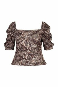 Womens Plus Rib Leopard Print Puff Sleeve Top - Brown - 20, Brown