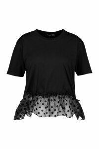 Womens Plus Organza Spot Smock T-Shirt - Black - 18, Black