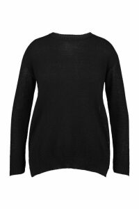 Womens Plus Side Split Moss Stitch Jumper - Black - 20, Black
