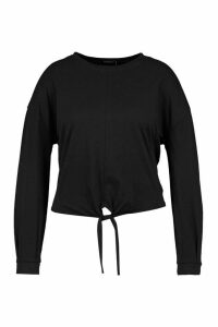 Womens Plus Basic Tie Front Long Sleeve T-Shirt - Black - 20, Black