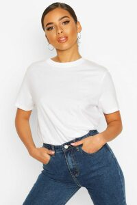 Womens Petite Round Neck Cotton T-Shirt - White - 4, White