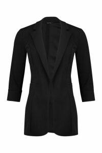 Womens Petite Longline Blazer - Black - 14, Black