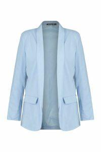 Womens Plus Skinny Lapel Blazer - Blue - 18, Blue
