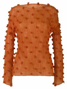 Issey Miyake Pre-Owned ball tassel plissé top - ORANGE