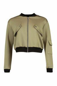 Womens Pocket Detail Bomber Jacket - Green - 14, Green