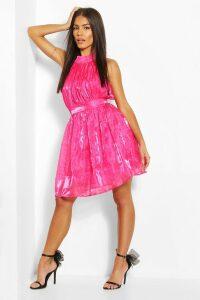 Womens Polka Dot High Neck Chiffon Skater Dress - Pink - M, Pink