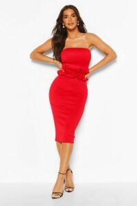 Womens Ruffle Waist Bandeau Midi Dress - Red - 12, Red