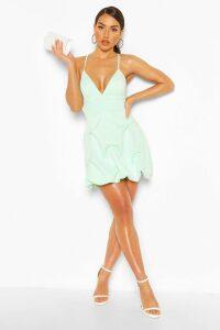 Womens V Neck Strappy Puff Ball Mini Dress - Green - 18, Green