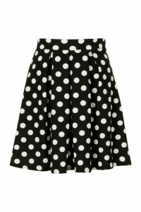 Womens Pleated Polka Dot Skater Skirt - Black - 16, Black