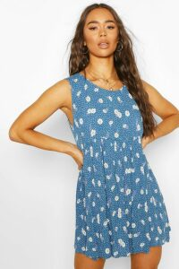 Womens Daisy Print Sleeveless Smock Dress - Blue - M, Blue