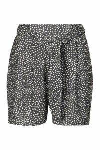 Womens Spot Tie Waist Shorts - Black - 6, Black