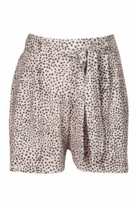Womens Spot Tie Waist Shorts - Purple - 6, Purple