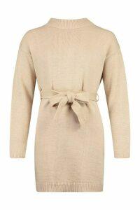 Womens Knitted Belted Dress - Beige - M, Beige