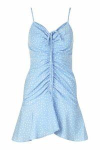 Womens Ruched Polka Dot Slip Dress - Blue - 16, Blue