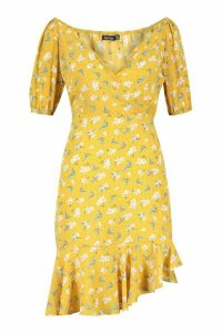 Womens Short Puff Sleeve Ruffle Asymetric Aline Mini - Yellow - 18, Yellow