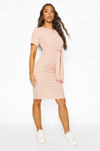 Womens Rib Midi Dress With Draped Side Tie - Pink - 14, Pink